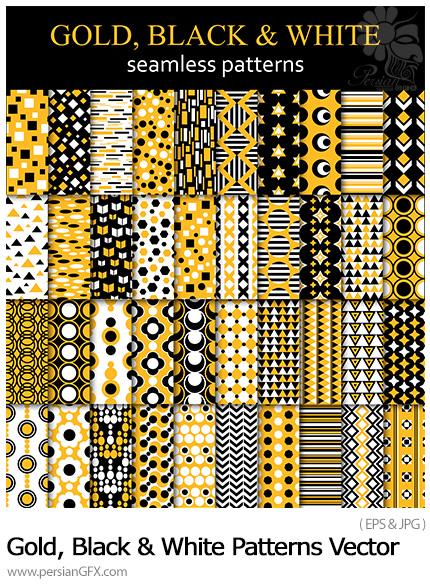 دانلود پترن وکتور با طرح های فانتزی طلایی، سیاه و سفید - Gold, Black And White Seamless Patterns Vector
