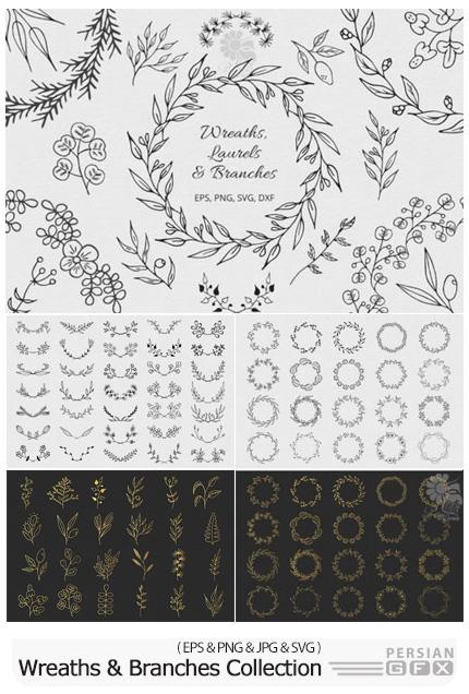 دانلود وکتور عناصر تزئینی گلدار، بت و جقه، فریم و حاشیه - Wreaths, Laurels And Branches Collection