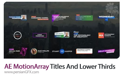 دانلود زیرنویس و تایتل های آماده افترافکت از موشن اری - MotionArray Titles And Lower Thirds