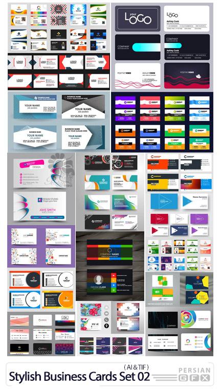 دانلود مجموعه وکتور کارت ویزیت با طرح های متنوع - Vectors Stylish Business Cards Set 02