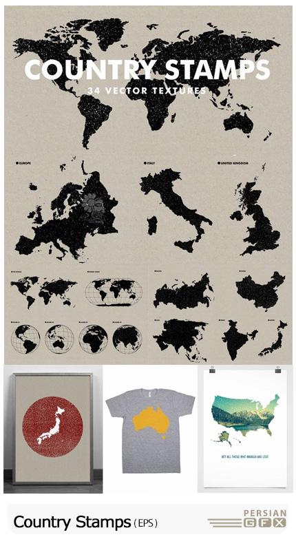 دانلود وکتور طرح استمپ نقشه کشورهای مختلف و کره زمین - Country Stamps