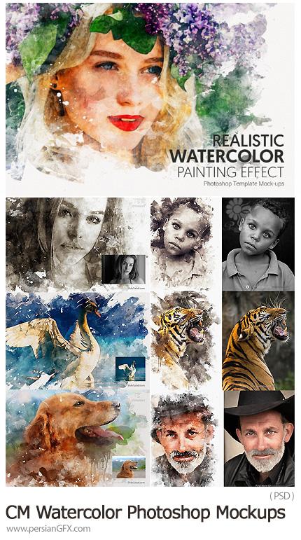 دانلود افکت لایه باز تبدیل تصاویر به نقاشی آبرنگی حرفه ای - CreativeMarket 1 Watercolor Photoshop Mockups