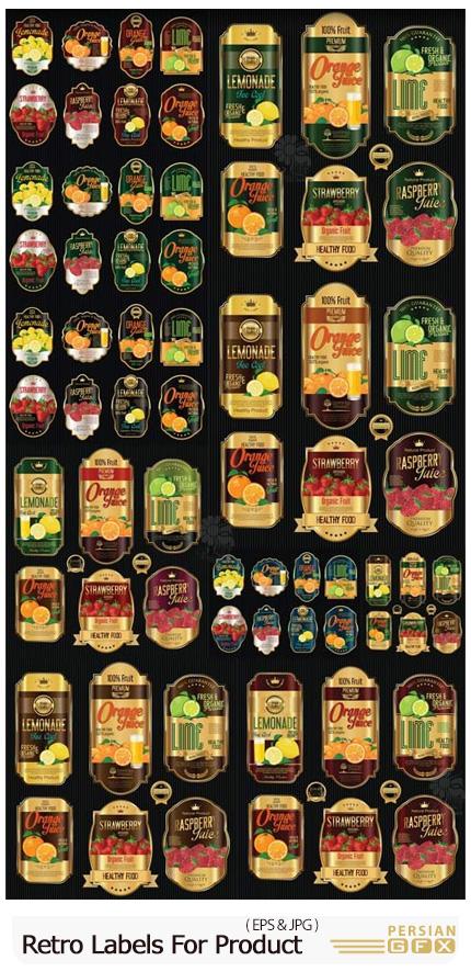دانلود مجموعه وکتور لیبل های قدیمی طلایی برای محصولات ارگانیک - Retro Vintage Golden Labels For Organic Product Vector