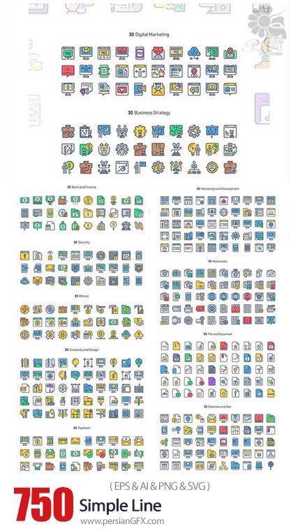 دانلود 750 آیکون خطی ساده با موضوعات مختلف - 750 Simple Line