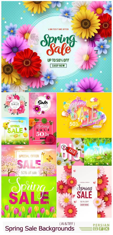 دانلود وکتور بک گراند های فروش ویژه بهار - Vectors Spring Sale Backgrounds