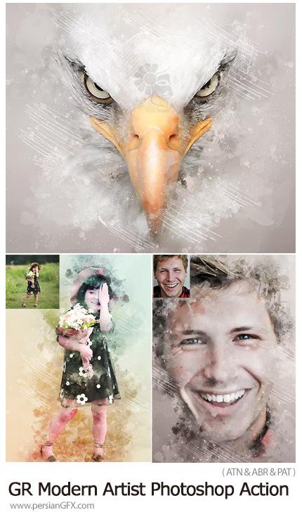 دانلود اکشن فتوشاپ تبدیل تصاویر به نقاشی هنری مدرن به همراه آموزش ویدئویی از گرافیک ریور - GraphicRiver Modern Artist Photoshop Action