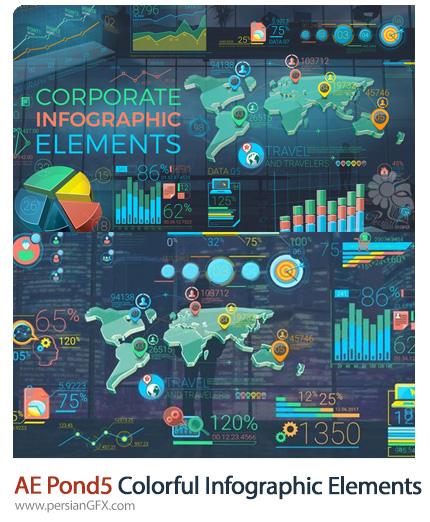 دانلود 2 پروژه افترافکت اجزای اینفوگرافیک رنگی - Pond5 Colorful Corporate Infographic Elements
