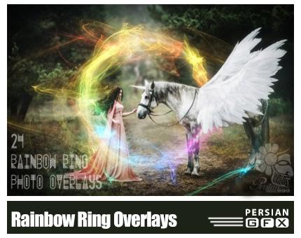 دانلود 24 کلیپ آرت حلقه های رنگین کمان متنوع - 24 Rainbow Ring Photo Overlays