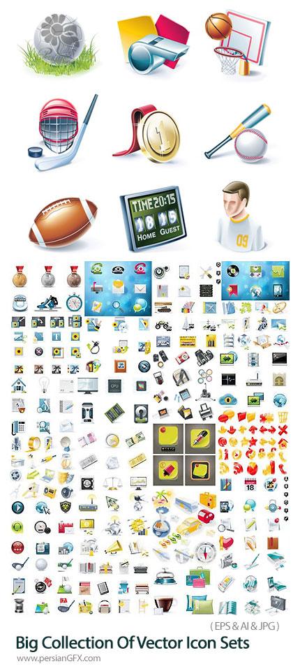 دانلود مجموعه آیکون های وکتور با موضوعات مختلف شامل لوازم التحریر، لوازم خانگی، ابزار طراحی و ... - Big Collection Of Vector Icon Sets