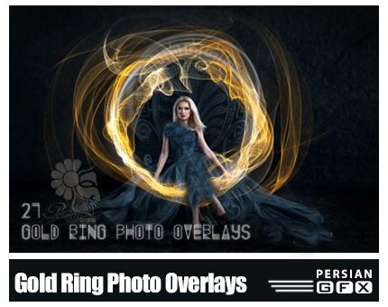 دانلود 21 کلیپ آرت حلقه های طلایی تزئینی برای تصاویر - 21 Gold Ring Photo Overlays