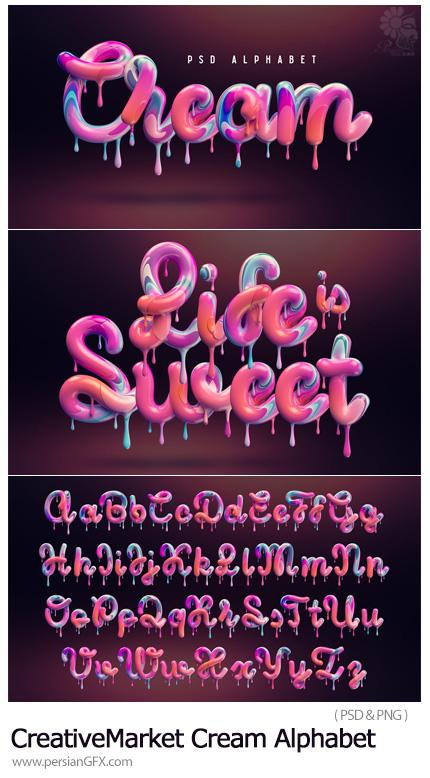 دانلود تصاویر لایه باز حروف الفبای انگلیسی با افکت چکیدن مایع - CreativeMarket Cream Alphabet