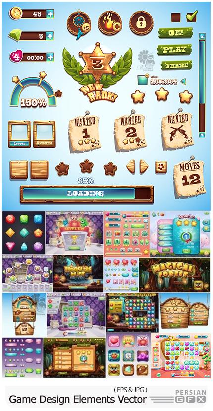 دانلود وکتور عناصر طراحی بازی های کامپیوتری - Game Design Elements In Vector