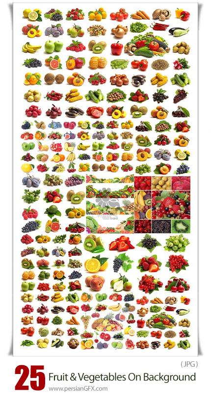 دانلود مجموعه تصاویر با کیفیت میوه و سبزیجات در بک گراند سفید - Fruit And Vegetables On White Background