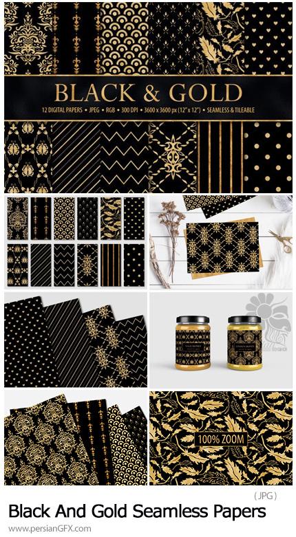 دانلود تکسچر کاغذی با طرح های تزئینی مشکی و طلایی با کیفیت - Designbundles Black And Gold Seamless Papers