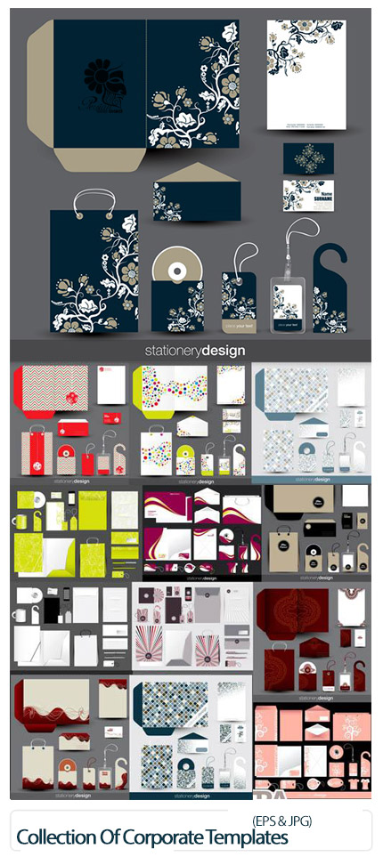 دانلود وکتور ست اداری شامل کارت ویزیت، سربرگ، پاکت نامه و ... - Collection Of Corporate Templates