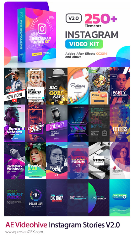 دانلود کیت ساخت استوری اینستاگرام و استورهای آماده اینستاگرام برای افترافکت از ویدئوهایو - Videohive Instagram Stories Kit And Instagram Story Pack V4
