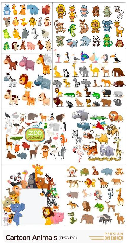 دانلود مجموعه وکتور حیوانات کارتونی مختلف - Cartoon Animals