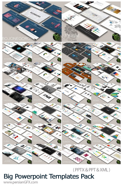 دانلود مجموعه قالب آماده پاورپوینت تجاری - Big Powerpoint Templates Pack