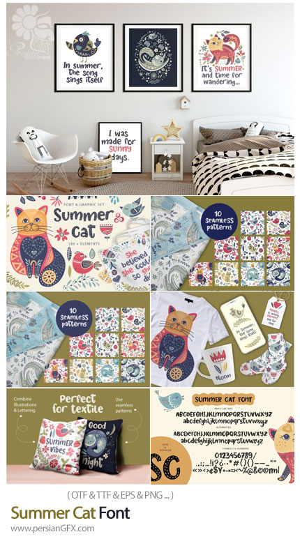 دانلود فونت انگلیسی با طرح گربه های تابستانی - Summer Cat Font