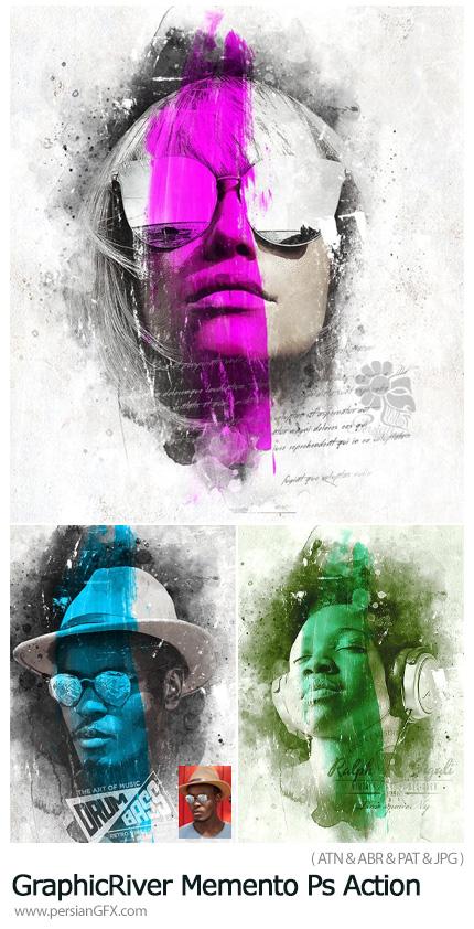 دانلود اکشن فتوشاپ تبدیل تصاویر به نقاشی با افکت ایجاد علامت بر روی تصاویر به همراه آموزش ویدئویی از گرافیک ریور - GraphicRiver Memento Photoshop Action