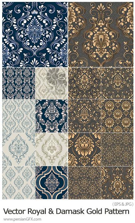 دانلود مجموعه پترن وکتور با طرح های گلدار تزئینی - Vector Royal Victorian And Damask Seamless Gold Pattern