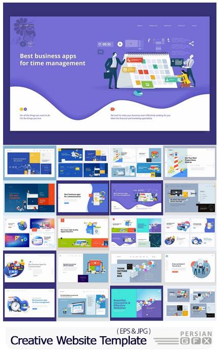 دانلود مجموعه وکتور قالب های آماده وب با طرح های خلاقانه - Set Of Creative Website Template Designs