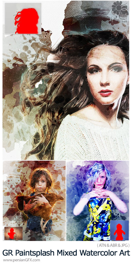 دانلود اکشن فتوشاپ تبدیل تصاویر به نقاشی آبرنگی با لکه های پاشیده شده از گرافیک ریور - GraphicRiver Paintsplash Mixed Watercolor Art