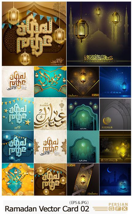 دانلود وکتور بنر و کارت پستال ماه مبارک رمضان و عید مبارک - Eid Mubarak Calligraphy, Ramadan Kareem Vector Card 02