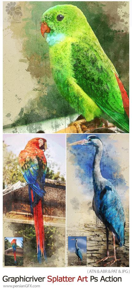 دانلود اکشن فتوشاپ تبدیل تصاویر به نقاشی هنری با افکت لکه های پاشیده شده از گرافیک ریور - Graphicriver Splatter Art Photoshop Action