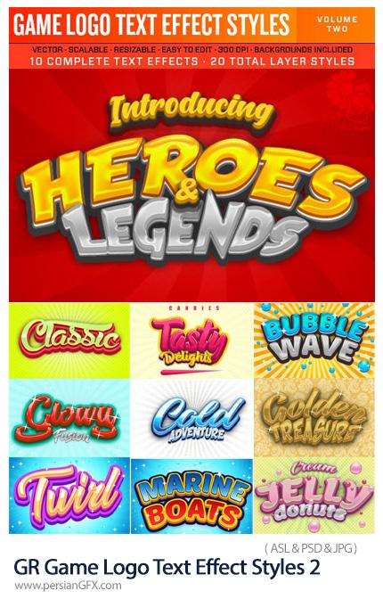 دانلود استایل فتوشاپ با 10 افکت لایه باز بازی برای متن از گرافیک ریور - GraphicRiver Game Logo Text Effect Styles 2