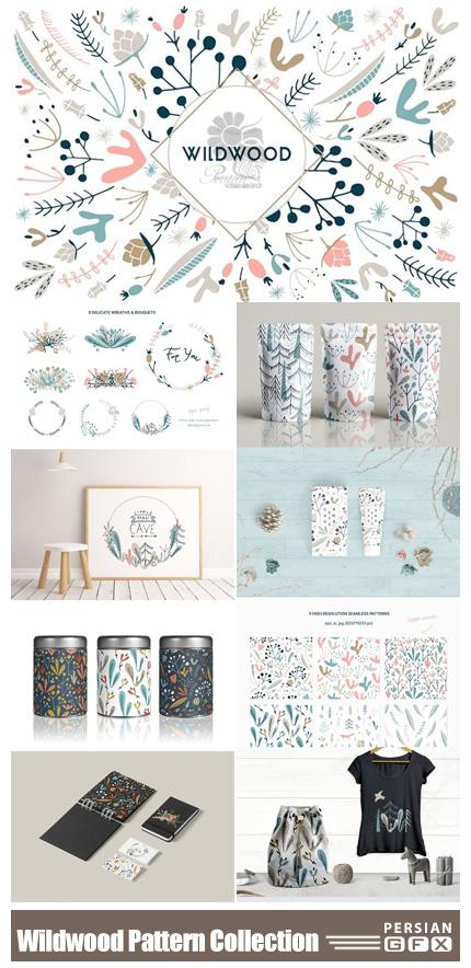 دانلود کلیپ آرت عناصر تزئینی گل و بوته شامل پترن، حلقه گل و فریم - CM Wildwood Pattern Collection