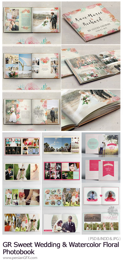 دانلود آلبوم عکس عروسی - GraphicRiver Sweet Wedding And Watercolor Floral Photobook