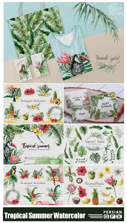 دانلود کلیپ آرت عناصر طراحی آبرنگی تابستانی شامل فریم، پترن، المان های استوایی و ... - Tropical Summer Watercolor Clip Art