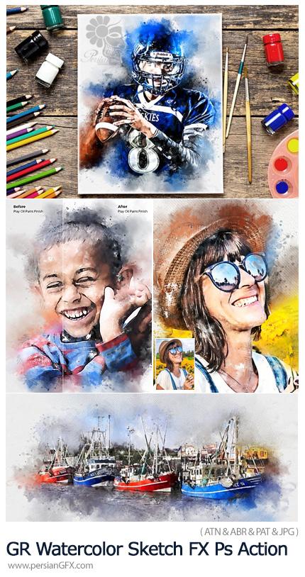 دانلود اکشن فتوشاپ تبدیل تصاویر به طرح آبرنگی به همراه آموزش ویدئویی از گرافیک ریور - GraphicRiver Watercolor Sketch FX Photoshop Action