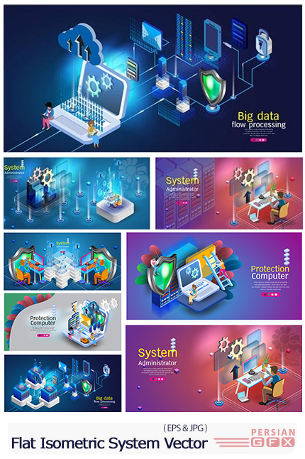 دانلود وکتور بنرهای فلت ایزومتریک با موضوع کامپیوتر و تکنولوژی - Flat Isometric System Administrator Vector Illustration
