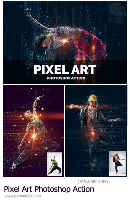 دانلود اکشن فتوشاپ ایجاد افکت ذرات نورانی پیکسلی بر روی تصاویر - Pixel Art Photoshop Action