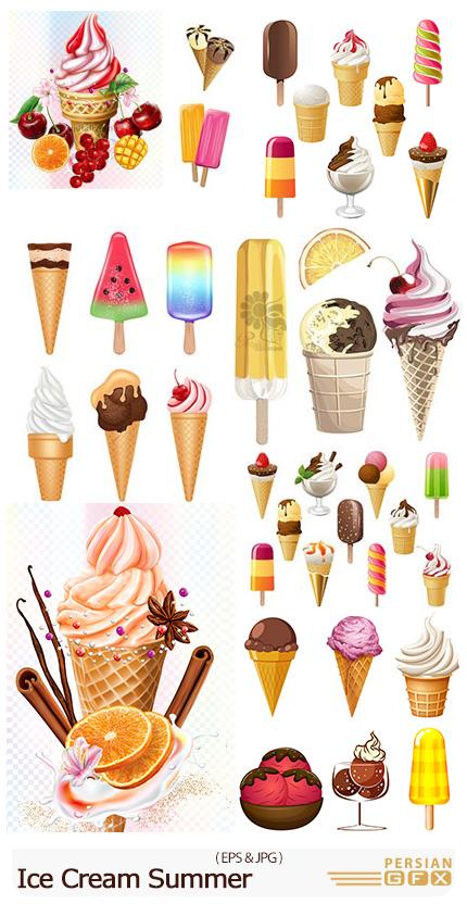 دانلود وکتور بستنی قیفی، بستنی حصیری و میوه ای - Ice Cream Summer