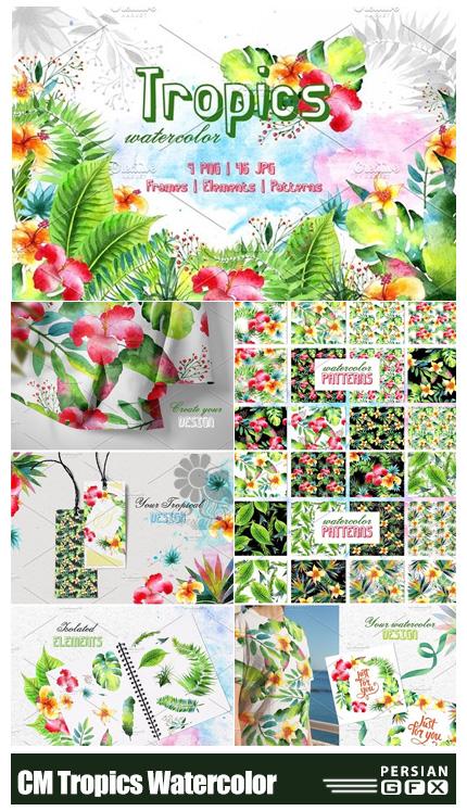دانلود کلیپ آرت عناصر طراحی آبرنگی تابستانی شامل فریم، پترن، المان های استوایی و ... - CM Tropics Watercolor
