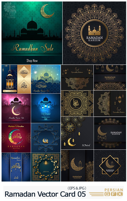 دانلود وکتور کارت پستال و تایپوگرافی ماه مبارک رمضان و عید مبارک - Ramadan Kareem Vector Card Eid Mubarak Calligraphy Design Templates 05