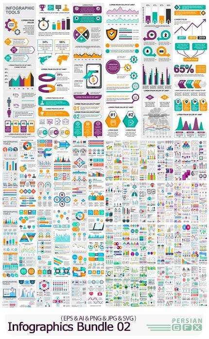 دانلود مجموعه وکتور نمودارهای اینفوگرافیکی متنوع - Infographics Bundle 02