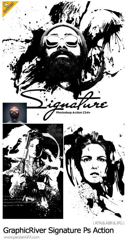دانلود اکشن فتوشاپ تبدیل تصاویر به طرح امضا به همراه آموزش ویدئویی از گرفیک ریور - GraphicRiver Signature CS4+ Photoshop Action