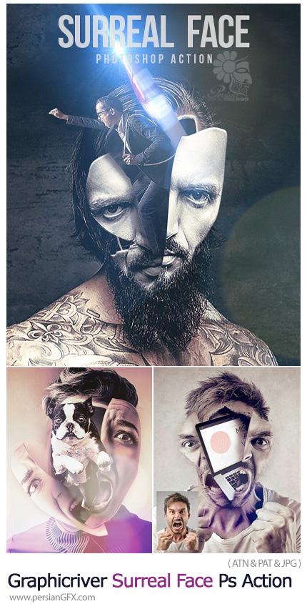 دانلود اکشن فتوشاپ ساخت تصاویر سورئال به همراه آموزش ویدئویی از گرافیک ریور - Graphicriver Surreal Face Photoshop Action
