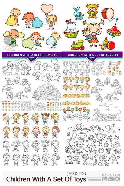 دانلود وکتور طرح های رنگ آمیزی کودکانه برای مهدکودک - Children With A Set Of Toys
