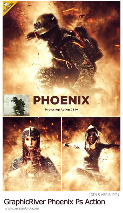 دانلود اکشن فتوشاپ ایجاد افکت ققنوس آتشین بر روی تصاویر به همراه آموزش ویدئویی از گرافیک ریور - GraphicRiver Phoenix CS4+ Photoshop Action