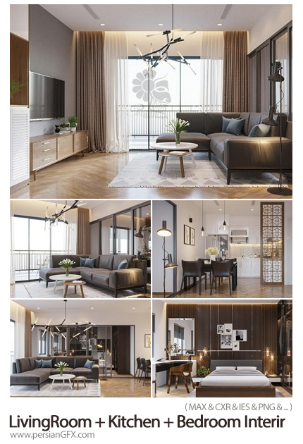 دانلود مجموعه مدل های سه بعدی آشپزخانه، اتاق خواب و سالن پذیرایی - LivingRoom + Kitchen + Bedroom Interir Scene