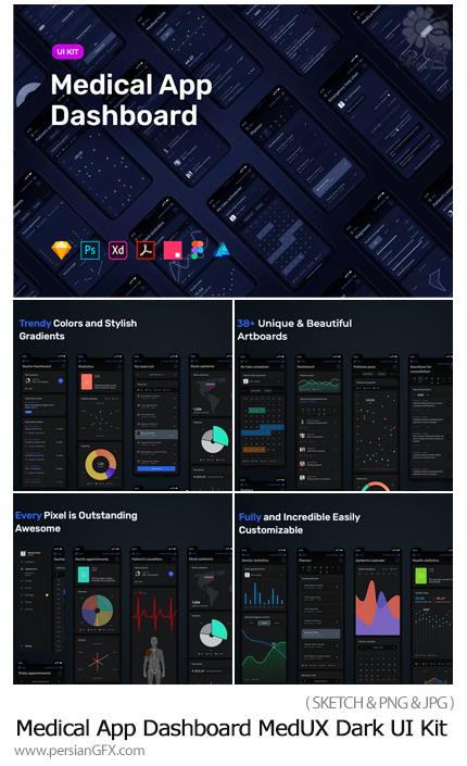 دانلود کیت طراحی رابط کاربری، داشبورد برنامه پزشکی - Medical App Dashboard MedUX Dark UI Kit