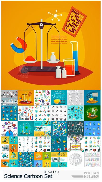 دانلود وکتور المان های علمی و پزشکی برای طراحی بنر - Science Cartoon Set