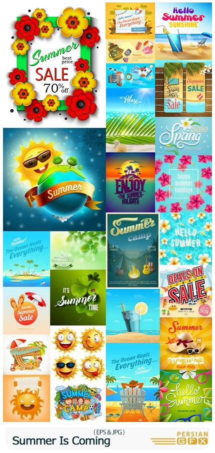 دانلود وکتور عناصر طراحی تابستانی شامل بنر، بک گراند، آیکون و ... - Summer Is Coming