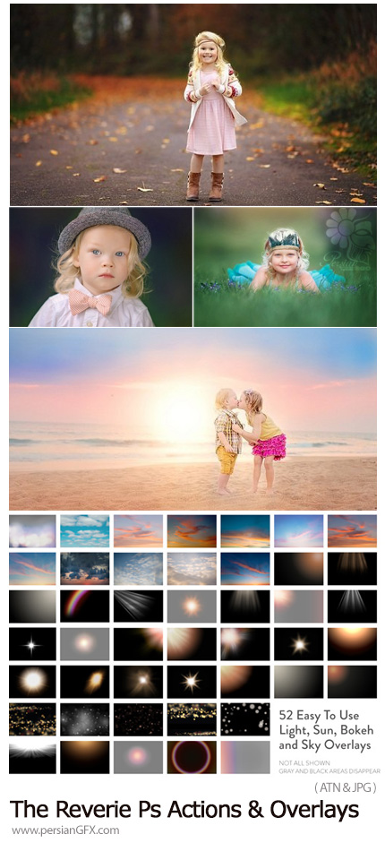 دانلود اکشن فتوشاپ و تصاویر پوششی با افکت های بوکه، نورانی و آسمان - Paint The Moon The Reverie Photoshop Actions And Overlays