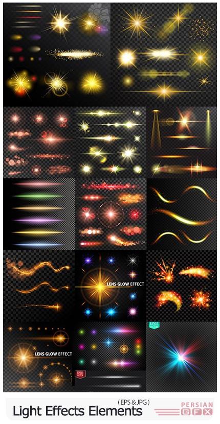 دانلود مجموعه افکت نور برای طراحی پوستر - Light Effects Sparkling Elements Dark Background